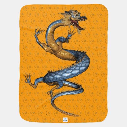 Dragon with Cherry Blossom Pattern Stroller Blanket