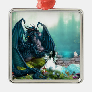 Dragon with Fairy Metal Ornament