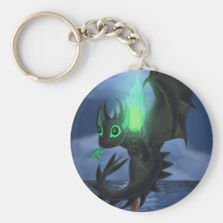 Dragon With Green Fire Basic Round Button Key Ring