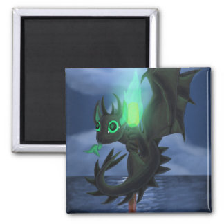 Dragon With Green Fire Magnet