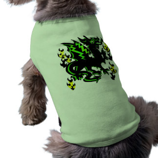 DRAGON WITH GREEN LIGHTNING AND FLAMES GRAPHIC DOGGIE T-SHIRT