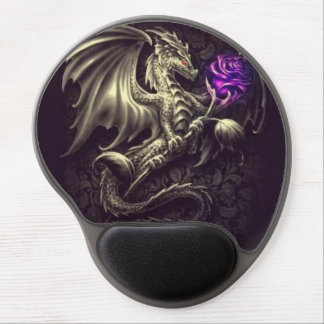Dragon with Purple Rose Gel Mousepad Gel Mouse Pad