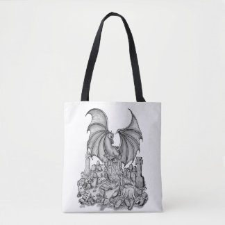Dragon with Zombie Tote Bag