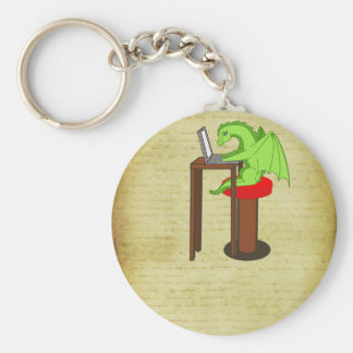 Dragon words basic round button key ring