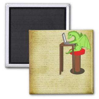 Dragon words square magnet