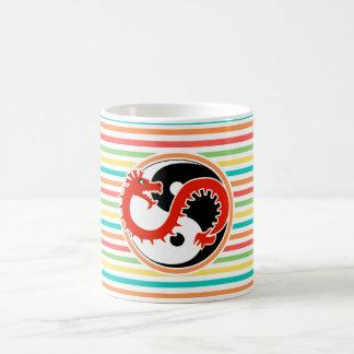 Dragon Yin Yang on Bright Rainbow Stripes Mugs