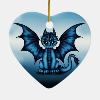 Dragonbaby blue ceramic heart decoration