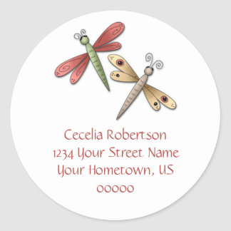 Dragonflies Address Label Round Sticker