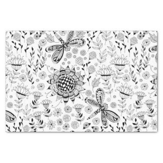 Dragonflies and flowers tissue paper
