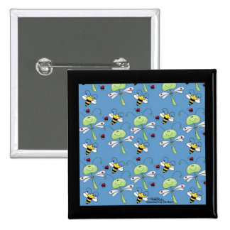 Dragonflies bees ladybugs collage 15 cm square badge