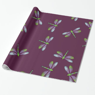 Dragonflies Design on Maroon Wrapping Paper