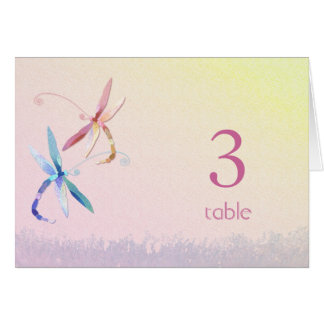 Dragonflies in Love Wedding Table Number Cards