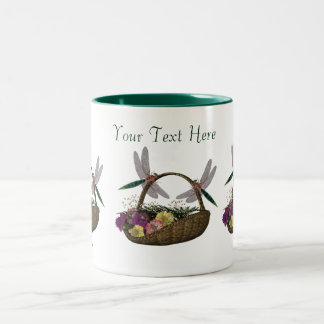 Dragonflies On Flower Basket Coffee Mug