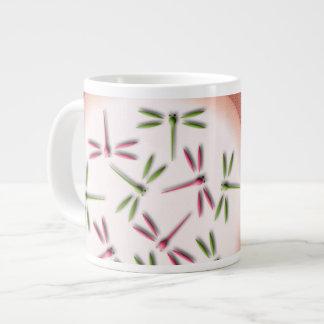 Dragonflies on light circles large coffee mug