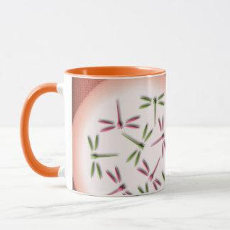 Dragonflies on light circles mug