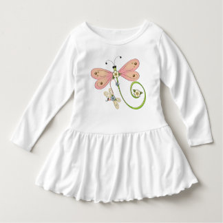 Dragonflies Pink Blue Green Insect Dress