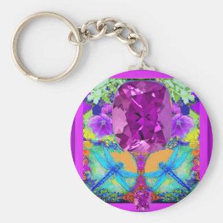 Dragonflies Purple Amethyst Gems Gifts by Sharles Key Chain