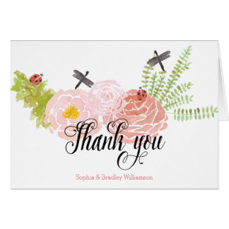 Dragonflies Roses Watercolor Garden Thank you Note Card