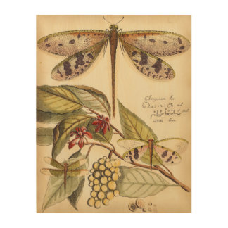 Dragonflies with Leaves and Fruit Wood Wall Decor