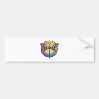 Dragonfly 1 - multi gradient (round) bumper sticker