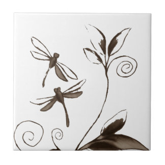 Dragonfly Abstract Ceramic Tile
