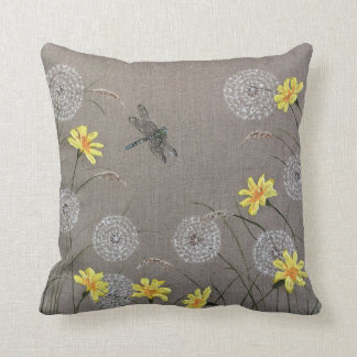 Dragonfly and Dandelion Design Cushion