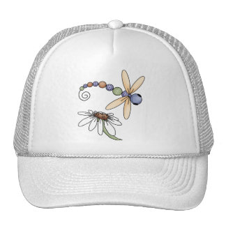 Dragonfly and Flower Trucker Hats