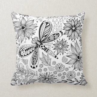 Dragonfly and flowers doodle cushion