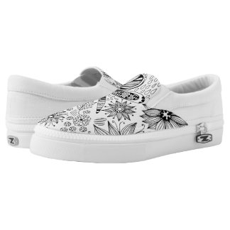 Dragonfly and flowers doodle slip on shoes