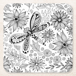 Dragonfly and flowers doodle square paper coaster