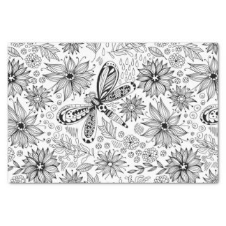 Dragonfly and flowers doodle tissue paper