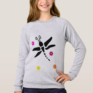 dragonfly and flowers sweatshirt