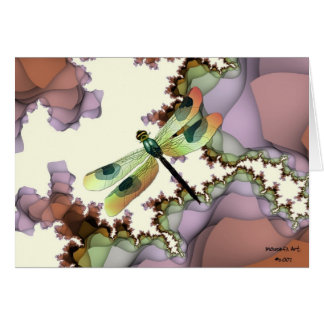 Dragonfly and Fractals  Birthday Card (Large Print