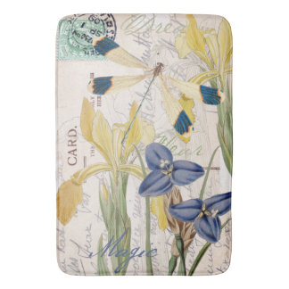 Dragonfly and Irises Bath Mat