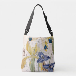 Dragonfly and Irises Crossbody Bag