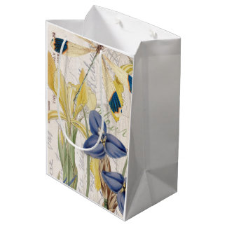 Dragonfly and Irises Medium Gift Bag