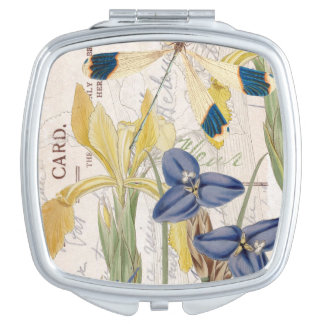 Dragonfly and Irises Travel Mirrors