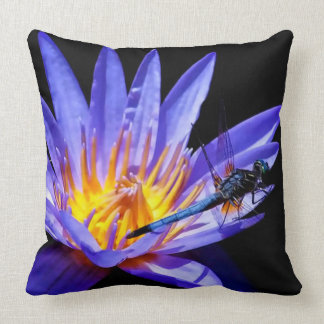 Dragonfly and Purple Water Lily by Julie Everhart Throw Pillow