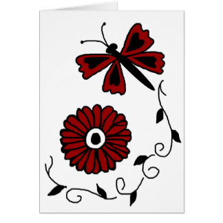 Dragonfly and red flower blank card