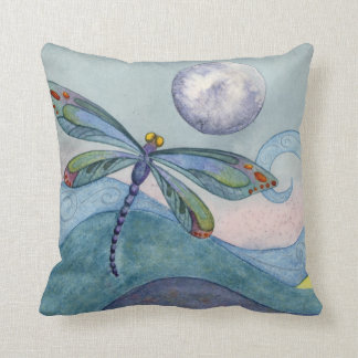Dragonfly and the Full Moon Throw Cushions