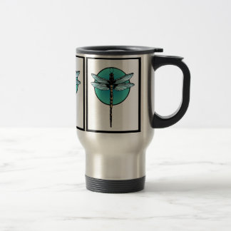Dragonfly Art Deco Style Stainless Steel Travel Mug
