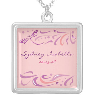 DRAGONFLY Baby Naming Keepsake Memory Mothers Gift Silver Plated Necklace