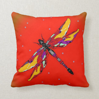 Dragonfly Burnt Orange Pillow by Sharles