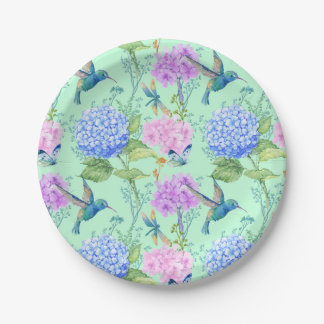 Dragonfly Butterfly Hummingbird Floral Paper Plate