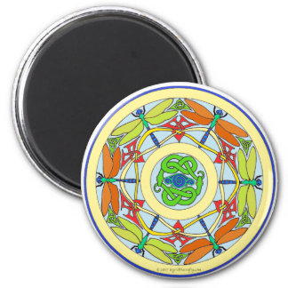 dragonfly circle 6 cm round magnet