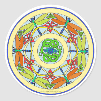 dragonfly circle classic round sticker