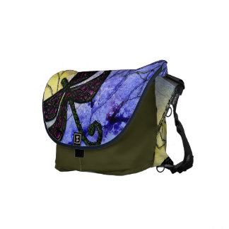 Dragonfly Collage over Watercolor - Blue Yellow Courier Bag