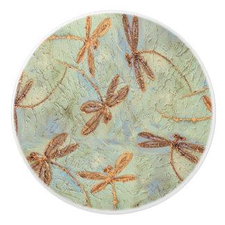 Dragonfly Dance Gold Ceramic Knob