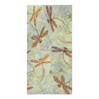 Dragonfly Dance Gold Photo Greeting Card