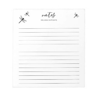 Dragonfly Design With Personalizable Name Lined Notepad